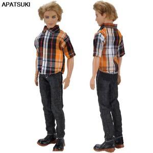 1set 1/6 Male Doll Clothes Orange Plaided Shirt & Black Pants For Ken Doll Boy