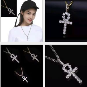 Men's Jewelry Rose Gold Iced Ankh Cross Pendant Cuban Link Chain Necklace 73-6