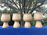 Set 4 Pottery Wine Cups Glasses Goblets Chalice Boho Handmade Artisan Rustic ❤️j