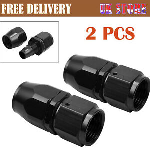 2pcs AN-10 AN10 Straight Swivel Fast Flow Stealth Black Hose Fitting Hose Ends