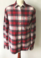 Jack Wills Womens Shirt Red Check Plaid Tartan Cotton Flannel Boyfriend Fit 10