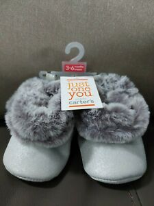 NEW! Just one You Carter's Silver Faux Fur Bootie Slippers Baby Size 3-6 Mths