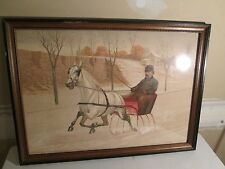 Vintage Sleigh Riding Print Horse Picture Art Work Signed C.B. Fish