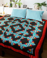 Patchwork Abstract style Scrap Quilt Log Cabin FINISHED QUILT