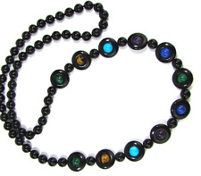 Exquisite CATENA TIPO vetrini bead & Circular Panel Necklace Onyx Collier ca 1930´s