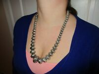 Vintage American Indian Navajo Sterling Silver Stamped Pearl Necklace Helen Chee