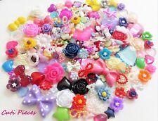 100pcs Mixed Craft Cabochons Embellishments Heart Bows Rose Pearls Flat-Back BC6