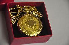 Reloj de Bolsillo Movimiento de Cuarzo Collar Cadena De Oro Lleno De Metal En Caja De Regalo