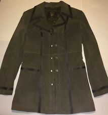 Guess Leather Jacket Womens Size Small Olive Green Suede Quilt Lined Coat