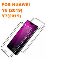 For HUAWEI Y6 2019 Y7 (2019) Shockproof 360 Cover Front and Back Case Clear