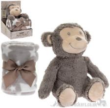 Plush fluffy Monkey Blanket & Soft Toy Children Baby Christening child Gift Set