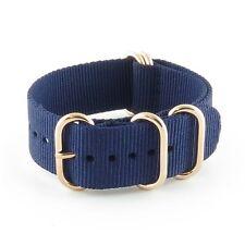 StrapsCo Blue 5 Ring Nylon Watch Strap Band w/ Rose Gold Rings