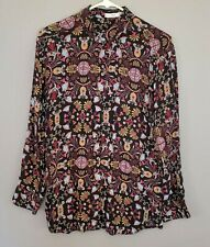 MNG Suit Women's Long Sleeve Button Down Top Sz XS (2) Black Blouse Shirt Silky
