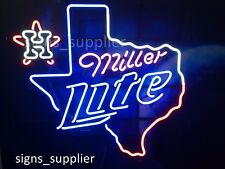 New Miller Lite Houston Astros Texas 2017 World Champions Neon Light Sign