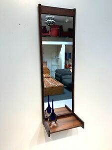 Mid Century Modern Teak Entry Mirror with Butler Shelf