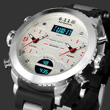 Mens Watch Quartz Digital White Dial Rubber Strap Analog Date Display Luxury