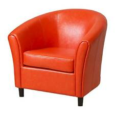 Napoli Bonded Club Chair Orange Leather - Christopher Knight Home