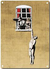 Banksy Lover Hanging From Window Metal Wall Sign 380mm x 280mm  (2f)