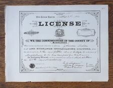 Vintage 1800's Connecticut Middlesex County Liquor License Ledger Page EXC COND!