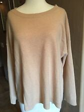 $398 EILEEN FISHER 100% cashmere High Low Side Slit Nude Color Sweater SZ Medium