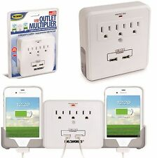 USB 3 Outlet Multiplier 2 Pull Out Cradles Phone Charger Phone Surge Protector