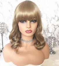 Blonde Brown Medium Long Wigs Bang Full Wig Wavy Curly Hair Lady Cosplay Wigs