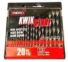 Mibro 20 Piece Drill Bit Set High Speed Steel 135 Split Point Kwik Star