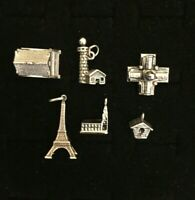 Vintage Sterling Silver Building Charms Lot Of 6 Eiffel Tower Capitol Grand Opry