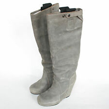 RICK OWENS $1,890 distressed leather pull on wedge high heel boots 11/41 NEW