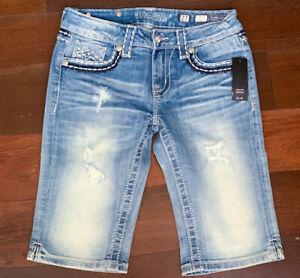 MISS ME Jeans Bermuda Shorts Stretchy JM1227M Faded Distressed Heavy Stitch Stud