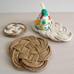Placemat Cotton Linen Hand-Woven Mat Insulation Protect Desktop Cup Non-Slip Pad
