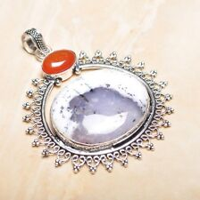 "Handmade Dendritic Tree Natural Agate 925 Sterling Silver Pendant 3"" #P15533"