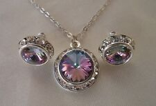 Swarovski Elements Crystal in Vitrail with Rhinestones  Necklace and Earring Set