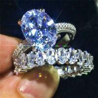 2pcs/set 925 Silver Women Rings White Sapphire Wedding Engagement Ring Size 6-10