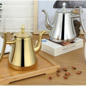 Tea Pot With Filter Gold Silver Color Hotel 304 Stainless Steel Water Kettles