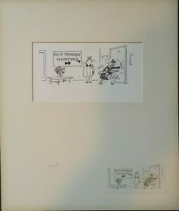Original Pen & Ink Cartoon circa 1970 - D.I.Y. Exhibition Women's Liberation