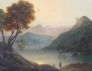 English Romantic School c. 1820: Lake and Mountains with People, OIl on Canvas