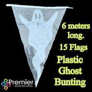6 METRES GHOST BUNTING HALLOWEEN PARTY FLAG DECORATION 15 FLAGS - TRANSPARENT