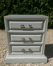 HAND PAINTED LIGHTLY DISTRESSED VINTAGE RETRO CHEST OF DRAWERS  SHADED WHITE F&B