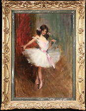 More details for c. 1880 french impressionist oil on canvas - portrait of a young dancer - manet