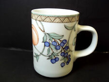 Dansk Fine china coffee mug Umbrian Fruits square handle 8 oz
