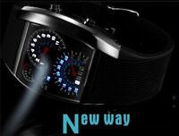 746| Élégant-montre-Homme-Cadran Noir-Or-Inox-Acier-Date-Quartz-Montre-LED