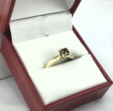 Genuine Champagne Princess Cut Diamond 14k Yellow Gold Engagement Ring