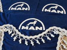 3Teilig Set Blau Gardinen mit Weiß Bommeln UNIVERSAL GRÖSSE für MAN LKW Vorhänge