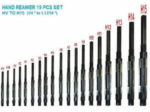 "19 Pcs ADJUSTABLE HAND REAMER SET H-V to H-15 SIZES 1/4 "" to 1.13/16 """