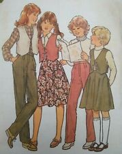 Vintage 1970s Simplicity Girl's Waistcoat Skirt Trousers Sewing Pattern 2809 27""