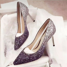 2020 Pointed high heels women stiletto crystal shoes black and silver gradient
