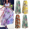 Women's BOHO Floral Printed Jersey Gypsy Long Maxi Skirt Beach Pleated Sun Dress