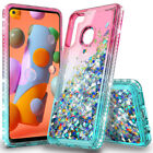 For Samsung Galaxy A01 A11 A21 Case Liquid Glitter Bling Cover+Tempered Glass