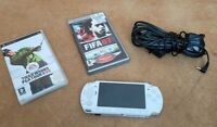 Sony PlayStation Portable PSP 2003 Slim Ceramic White Console + Charger & 2 Game